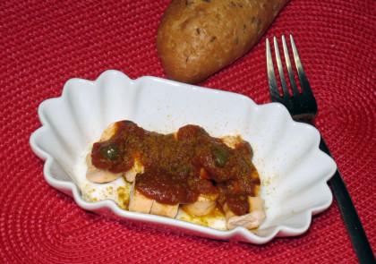 Currywurst aus Fischbratwurst